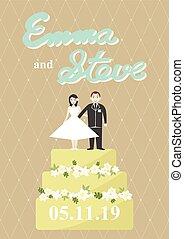 taart, bruid, bruidegom