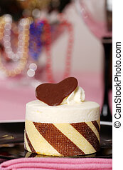 taart, chocolade, afsluiten, dessert, witte
