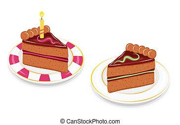 taart, chocolade, feestelijk, schijfen