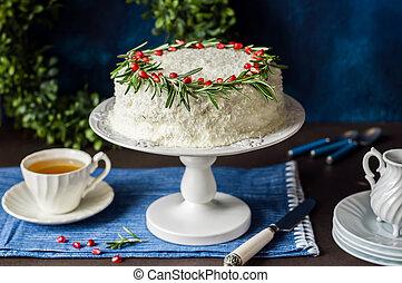 taart, cocosnoot, cristmas