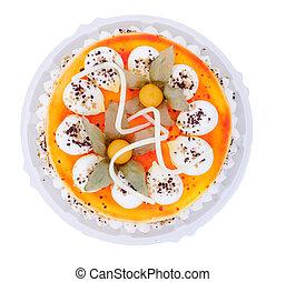 taart, fris, verfraaide, geheel, vruchten