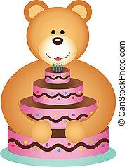 taart, jarig, beer, het koesteren, teddy