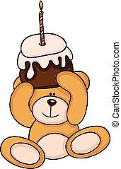 taart, jarig, beer, vasthouden, teddy