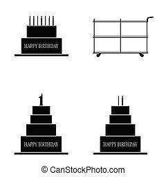 taart, jarig, set, illustratie, vrolijke