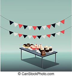 taart, jarig, vrolijke