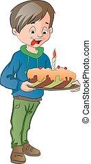 taart, jongen, illustratie, kaarsje, vasthouden