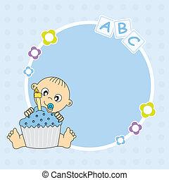 taart, jongen, jarig, baby