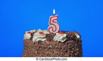 taart, kaarsje, blazen, 5, getal