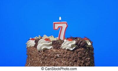taart, kaarsje, blazen, nummer 7