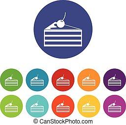 taart, kers, set, iconen