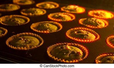 taart, muffin, timelapse, kop