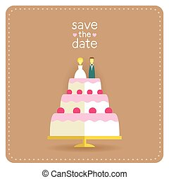 taart, plat, stijl, ontwerp, kaart