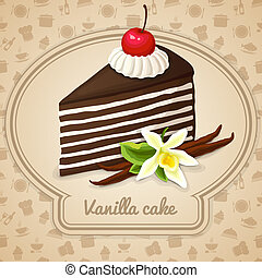 taart, poster, vanille, layered