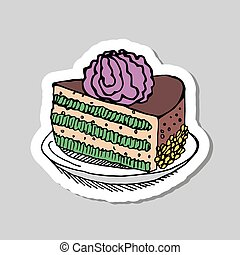 taart, schattig, jarig, vrolijke , kaarsje
