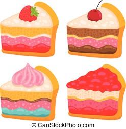 taart, schattig, vector, spotprent, stuk