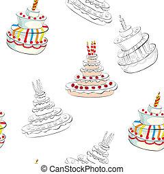 taart, seamless, achtergrond, trouwfeest