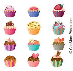 taart, set, spotprent, iconen