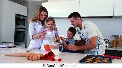 taart, togeth, het glimlachen, vervaardiging, gezin