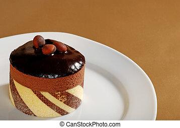 taart, truffel, chocolade, op einde