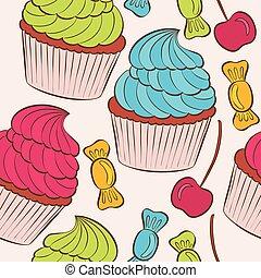 taart, vector, pattern., seamless, achtergrond