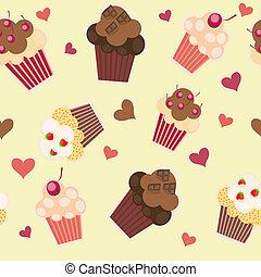 taart, vector, pattern., seamless, illustratie