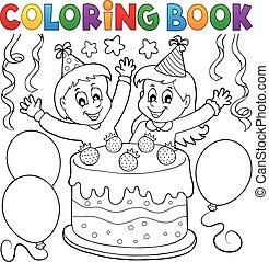 taart, vieren, kleurend boek, geitjes