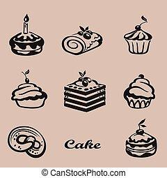 taart, zoet, set, fruit