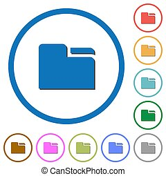 Tab folder icons with shadows and outlines - Tab folder flat...