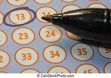 tab of the lottery with a circled number