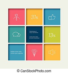 Tab, schedule, box diagram template. Infographics element....