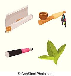tabac, habitude, symbole, web., symbole., collection, fumeur, vecteur, conception, stockage
