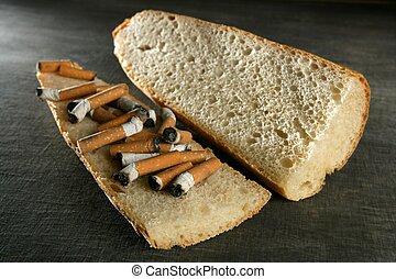 tabaco, bocadillo pan, menú