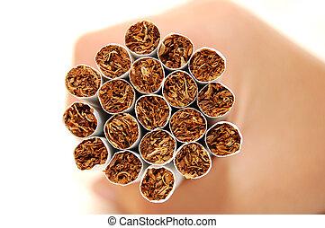 tabaco, detalhe, mão, cigarro, fundo, branca