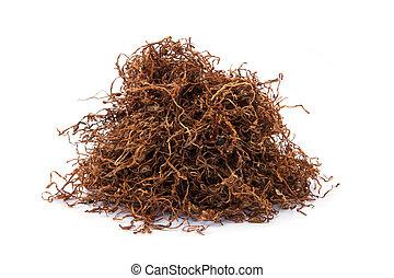 tabaco, rasgado, solto, isolado, fundo, branca