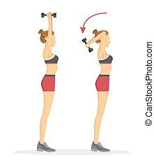tabata, illustrazione, tritare, vettore, triceps, esercizio