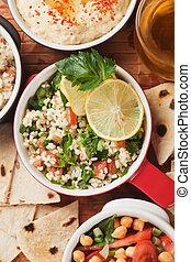 tabbouleh, oriente médio, salada, com, bulgur, macarronada