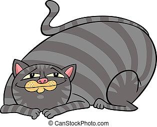 cartoon illustration of cute gray fat tabby cat