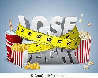 tabe vægt, tekst, hos, måle, tape, og, junk mad