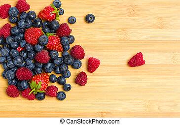 tabel, berries, oppe, stak, lukke