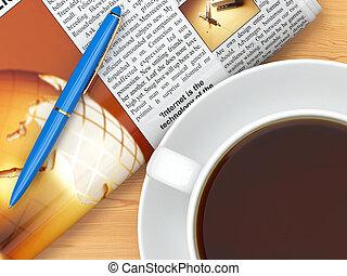 tabel, kop, pen, kaffe, avis