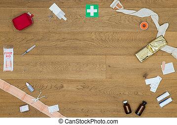 tabel, medicinsk, først, redskaberne, hjælpemiddel