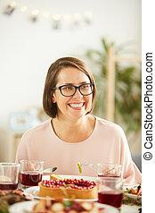 tabela, assento mulher, jantar
