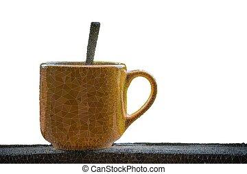 tabela, branca, triângulos, fundo, copo, madeira, café, linha, abstratos