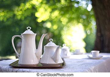tabela, café, jardim