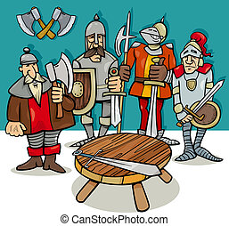 tabela, caricatura, redondo, cavaleiros