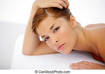 tabela, colocado, mulher, jovem, massagem