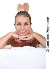 tabela, colocado, mulher, massagem, loura