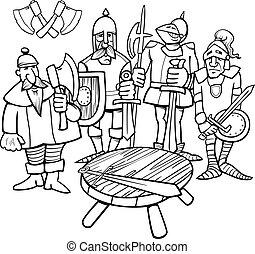 tabela, coloração, página, redondo, cavaleiros