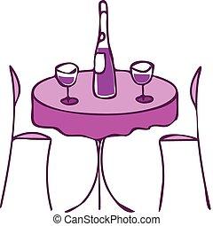 tabela, com, vinho, e, dois, cadeiras, -, jantar romântico,...