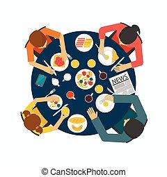 tabela, comendo desjejum, família, saudável